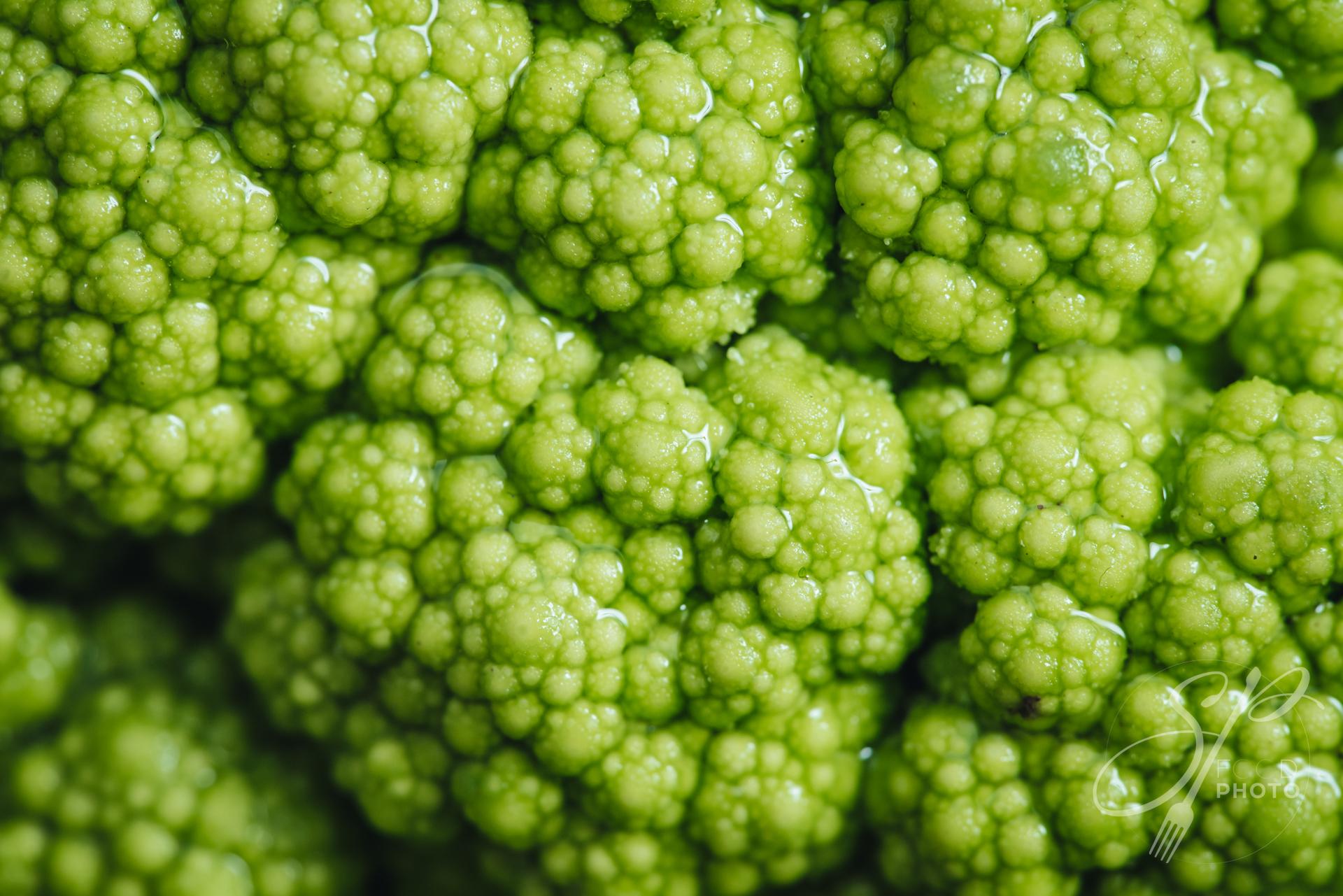Raw fresh green cauliflower from Puglia
