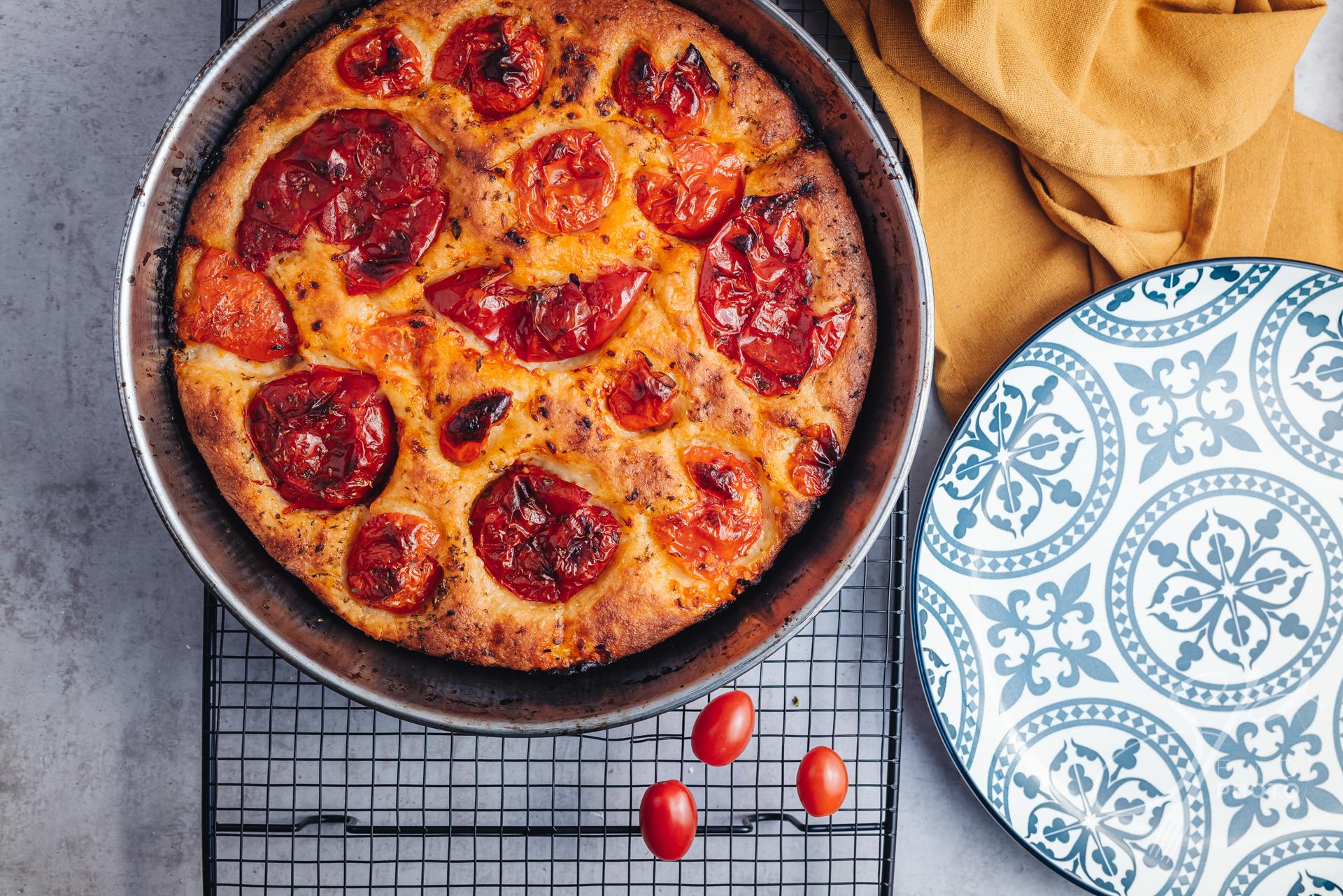 Delicious traditional focaccia bread from Bari, Puglia region