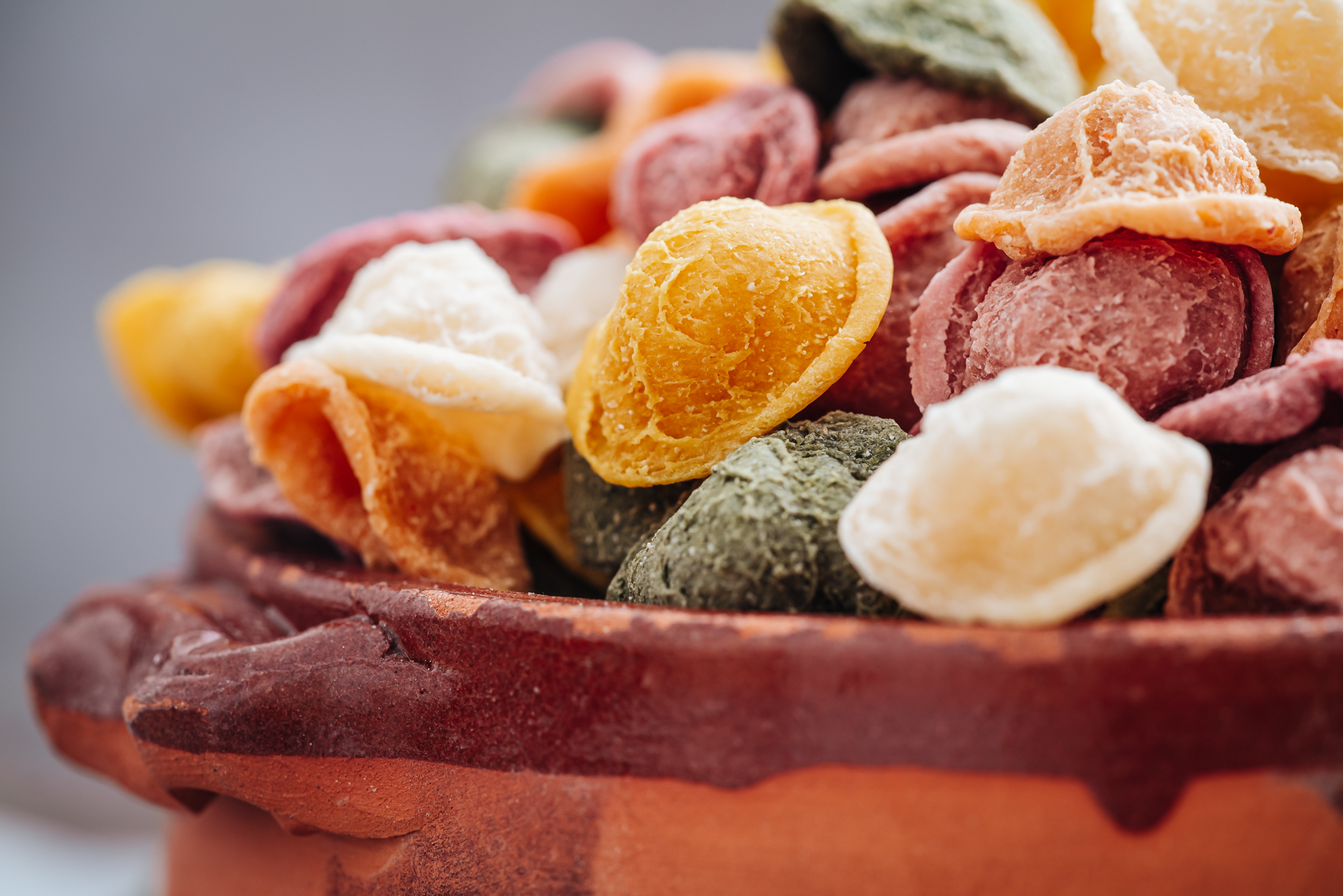 Hand made Orecchiette pasta with natural flavors